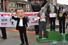 Olympic Protesters in Trafalgar Square Greenwash Gold 2012